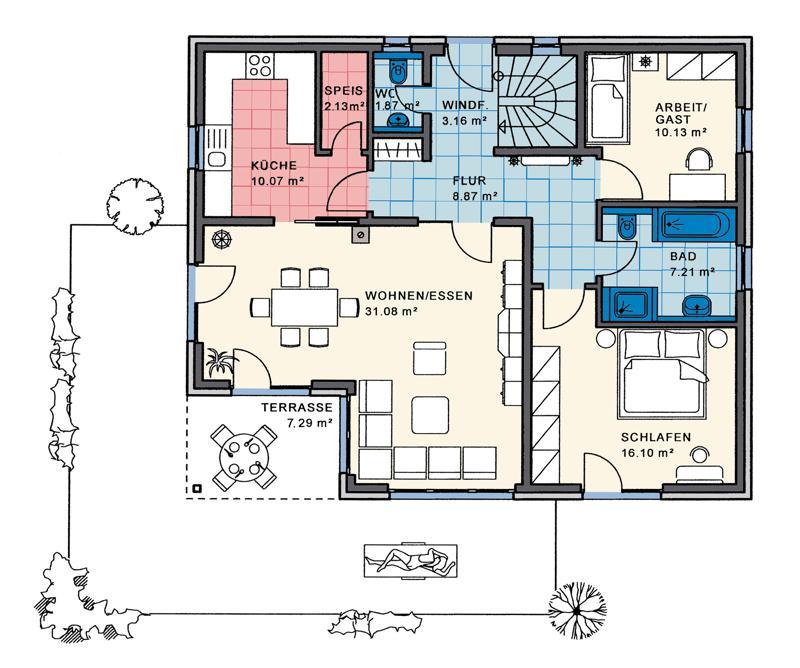 grundriss efh bungalow verschiedene ideen. Black Bedroom Furniture Sets. Home Design Ideas